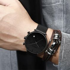 Type:Wrist watch/ Movement:Quartz/ Main Color:Black/ Weight: About Band Width: About Band Length: About Dial Diameter: About Case Thickness: About Water Resistance Best Watches For Men, Luxury Watches For Men, Awesome Watches, Stylish Watches, Silver Pocket Watch, Stainless Steel Mesh, Watch Sale, Quartz Watch, Minimalist