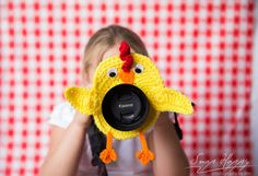 Crochet Camera Buddy Rooster Chick Lens Cover Photographer Helper Chicken Kids Photo Prop Photography Helper Attention grabber Smile Creator