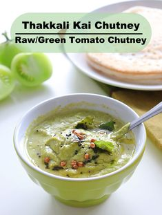 Delicious indian chutney made from raw/green tomatoes. It tastes great with idli and dosa varieties. #chutney #indianchutney #rawtomato #greentomato