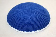 kippah blue with white edge by crochetkippah on Etsy