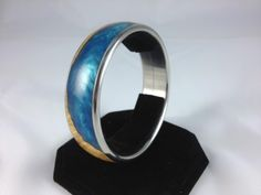 mesquite wood burl and blue resin bangle by SilveCreekWoodWorks