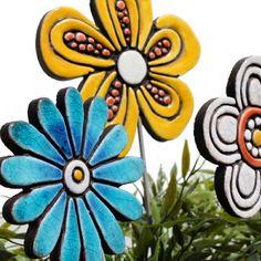Ceramic flower garden art - daisy - gvega
