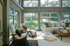 Modern living space with fantastic windows.