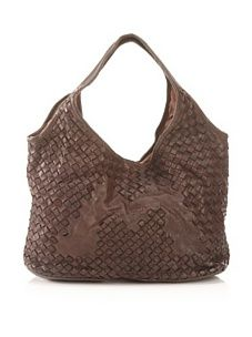 Bruno Magli Women's Ginevra Woven Shopper (Dark Brown)