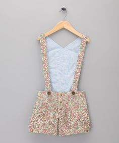 This Pink Floral Suspender Shorts - Girls by La faute à Voltaire is perfect! #zulilyfinds