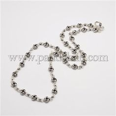 Men's Retro Thai Sterling Silver Knot Link Chain NecklacesSTER-O003-69-1