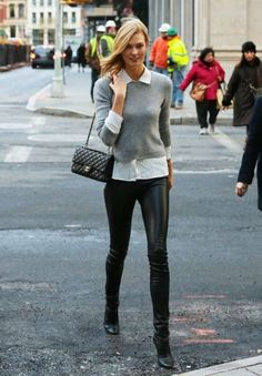 Karlie Kloss Style - Model Karlie Kloss wearing the Tamara Mellon Sweet Revenge leather legging boots is spotted out for a stroll in New York City, New York on December 11, 2014. #celebrity #howto #gray #sweater #chanel #bag