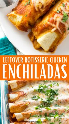Rotisserie Chicken Enchiladas is a great way to use up leftover rotissierie chicken you have on hand. Or if you don't have any then use shredded chicken you cook. Either way this red enchilada chicken recipe is a must make. #chicken #enchilada #leftoverrotisserie #Mexican #easy #dinner #easyrecipe #affordable Leftover Chicken Enchiladas Recipe, Recipe Using Leftover Chicken, Rotisserie Chicken Enchiladas, Rotisserie Chicken Leftovers, Recipes Using Rotisserie Chicken, Cooked Chicken, Shredded Chicken, Mexican Easy, Mexican Food Recipes