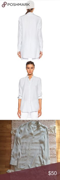 """FRAME Silk Button Up Baby blue strip button up long sleeve top. Only flaw is a small spot on the front. Freshly dry cleaned. Front length 27 Back length 32"""" Across the chest 19"""" Frame Denim Tops Button Down Shirts"""