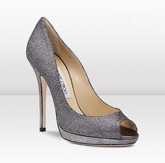 QUIET ~ Jimmy Choo ~  peep toe sandals in shimmering anthracite glitter fabric.