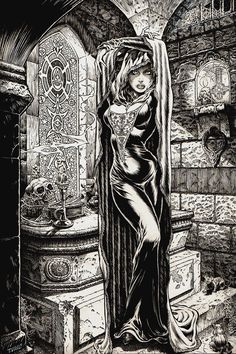 "Flusso senza coscienza: fantasie e boiate — thebristolboard: ""The Crypt"" by Tim Vigil. Fantasy Kunst, Dark Fantasy Art, Fantasy Artwork, Dark Art, Arte Horror, Horror Art, Dcc Rpg, Arte Obscura, Comic Kunst"