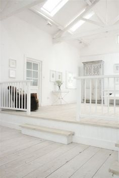 White wooden river house dreaming // I like. but too much white. House Design, White Beach Houses, Painted Wood Floors, House Styles, House Interior, Airy Room, White Interior, White, Home Decor Furniture