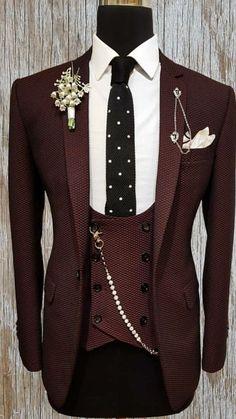 Men Wedding Suits Elegant 3 Pieces Wedding Dress Wool Dark Green Smoking Tuxedo Jacket Terno Slim Groom Suits For Men Wedding Dresses Men Indian, Wedding Dress Men, Wedding Men, Wedding Suits, Dress Suits For Men, Suit And Tie, Men Dress, Indian Men Fashion, Mens Fashion Suits