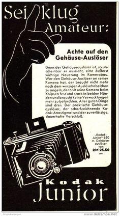 Original-Werbung/ Anzeige 1939 - KODAK JUNIOR KAMERA - ca. 90 x 160 mm