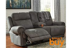 Gray Austere Reclining Loveseat with Console View 1
