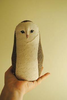 Barn owl soft toy / textile art / soft sculpture / by willowynn, $78.00
