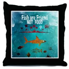 Fish are friend not food poker Throw Pillow