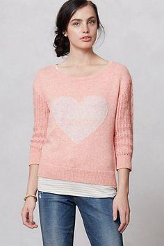 Heart Intarsia Sweater #anthropologie