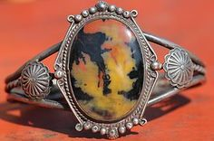 Vintage Navajo Sterling Silver Petrified Wood Road Map Agate Concho Bracelet | eBay