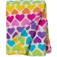 Three Cheers For Girls! Sleepover Rainbow Hearts Fleece Throw ($33) ❤ liked on Polyvore featuring fleece throw, patterned bedding, fleece blanket throw, fleece blanket and fleece bedding