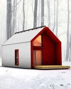 Family living in a small house of Modern Tiny House, Tiny House Cabin, Cabin Design, Tiny House Design, Weekend House, Prefab Homes, Tiny Homes, Small House Plans, Little Houses