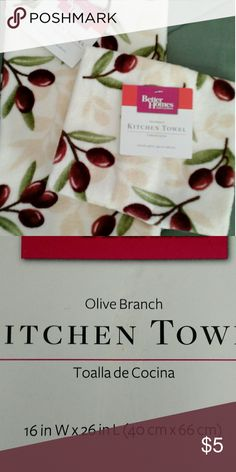 2 pc Olive Branch Plush Kitchen Towels BH & G Plush Kitchen Towels with Olive Branch Design 100% Cotton Better Homes and Garden Accessories