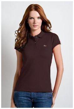 4dfbcf85fd Boutiques de Polo Lacoste Femmes revers court T Shirt Brown pas cher paris