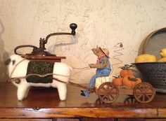 Primitive Farmer Mouse and his pumpkin by buttermilkcreekfarm