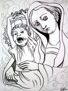 Female, Card Stock, Ink, Watercolor Painting, Drawings