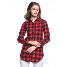 Women Blouses Brand Quality Cotton Blouse Women Shirts Casual Plaid Shirts Long Girls Shirts Loose Blusas Tops Plus Size BE66