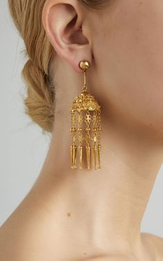 Yellow Gold Indian Jhumkas Pendant Earrings by Hanut Singh - Gold Jewelry Gold Earrings For Women, Gold Earrings Designs, Gold Jewellery Design, Silver Jewelry, Silver Ring, Gold Jhumka Earrings, Pendant Earrings, Indian Earrings Gold, Earring Studs