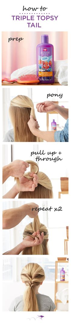 How To: Triple Topsy Tail | The perfect quick and easy kids style for play dates, trips to the park or even school | 1. Section hair just above the temple and pull back into a loose pony • 2. Evenly part the section above the elastic, then pull the hair below the elastic up and through the part • 3. Repeat, evenly dividing the remaining hair into two ponytails. For smoother, stronger strands before you style, wash with Aussie Kids Mango Mate 3N1 shampoo, conditioner and body wash.