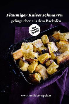 Unser Kaiserschmarrn ist gelingsicher im Ofen gebacken und ist nicht umsonst einer der großen österreichischen Klassiker. Und so einfach geht's ... #meiliabstespeis #kaiserschmarrn #backofen #österreichischeklassiker Food Blogs, Foodblogger, Tricks, Muffins, Desserts, German, Winter, Ethnic Recipes, Vegetarian Recipes