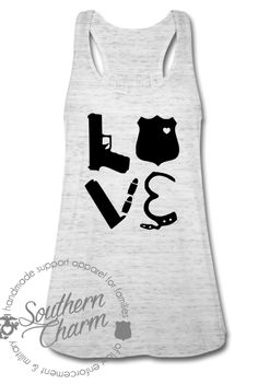Southern Charm Designs - Love Police Gear Square Top, $29.00 (http://www.shopsoutherncharmdesigns.com/love-police-gear-square-top/)