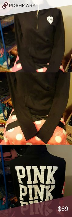 VICTORIA'S  SECRET PINK  PULLOVER  SWEATSHIRT HALF ZIP BLACK WHITE GRAPHICS  SMALL EUC NO SIGNS OF WEAR  NO CRACKING IN LETTERS LIKE NEW CONDITION   ALL ITEMS ARE NEGOTIABLE  PLEASE DO NOT BE AFRAID TO ASK. JUST NO LOWBALLING  PLEASE! Victoria's Secret Tops Sweatshirts & Hoodies