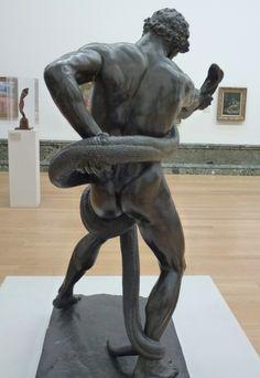 "Lord Frederick Leighton, ""Athlete Wrestling a Serpent"", bronze Frederick Leighton, Santa Barbara Museum, Garden Sculpture, Lion Sculpture, Tate Britain, Art Museum, Statue, London, Athlete"
