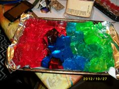 Jello for the Power Ranger party red blue and green