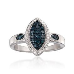 Ross-Simons - .15 ct. t.w. Blue Diamond Ring in Sterling Silver - #783003