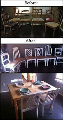 DIY mismatched dining chairs makeover
