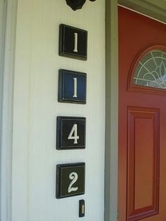 House numbers with door color and white.