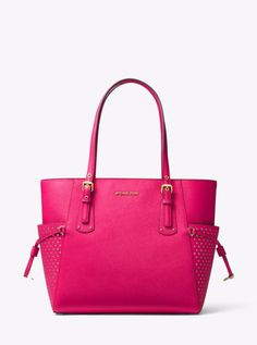 eec10c21945a Michael Kors Perforated Voyager Saffiano Leather Signature Tote Bag