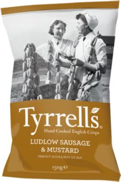 Tyrrells Potato Crisps - Ludlow Sausage and Mustard 40g £0.85 Fine English crisps made using Herefordshire potatoes and always made in small batches. Flavoured with Ludlow Sausage and mustard, these are real comfort crisps, perfect with a pint of ale.