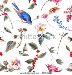 Spring Vintage Seamless Background with Gentle Pink Flowers, Beetles and Birds, Botanical Vector illustration