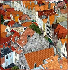 Rooftop Angles by Jane Blair - I could do a board devoted only to her incredible quilts! Yes, this is a QUILT! Kitsch, Angles, Landscape Art Quilts, House Quilts, Barn Quilts, Wow Art, Collage, Construction, Fabric Art