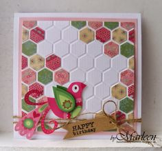 Card by Marleen with Design Folder Chickenwire by Marianne Design Happy Birthday Birds, Patchwork Cards, Hexagon Cards, Paper Craft Making, Folder Design, Bday Cards, Marianne Design, Paper Cards, Cardmaking