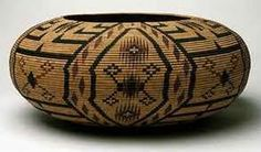 Possibly a Pomo Native American basket.  Link here   http://www.mendorailhistory.org/1_redwoods/pomo.htm   for additional information