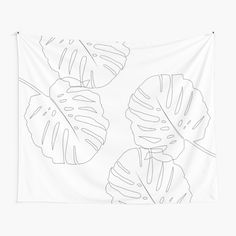 'Monstera Leaves Finesse Line Art ' Tapestry by anitabellajantz Room Tapestry, Tapestries, Textile Prints, Textiles, Monstera Leaves, Thing 1, Tapestry Design, Free Stickers, All Print