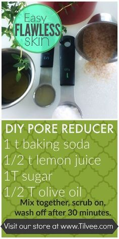 This DIY face mask for pores not only exfoliates but reveals brighter skin, too. Sugar and baking soda remove any impurities from the pores while lemon juice helps even out the skin tone.