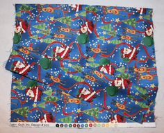 Christmas Fabric, Santa and Reindeer, Cotton, 12 x 44 inches by ilovevintagestuff on Etsy