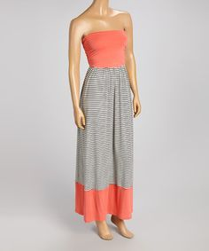 Another great find on #zulily! Coral & Black Stripe Sleeveless Maxi Dress #zulilyfinds